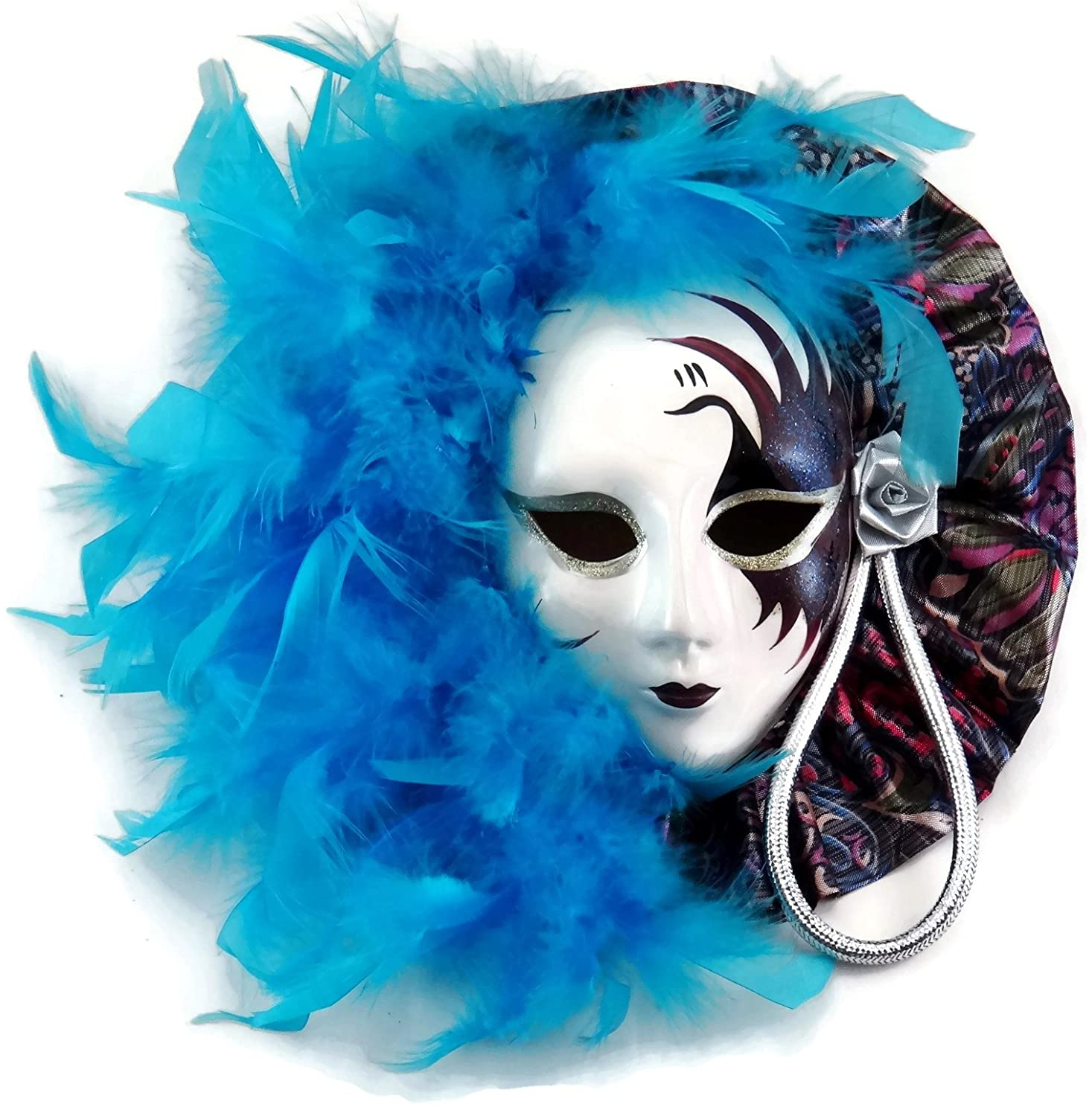 Amazon mardi gras mask wall decor with turquoise feather amazon mardi gras mask wall decor with turquoise feather accents masquerade mask decor home kitchen amipublicfo Images