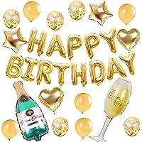 Termichy Globos Metalicos Globos de Cumpleaños de 30 Piezas con Botella de Cerveza y Copa de Vino (Conjunto de Oro)