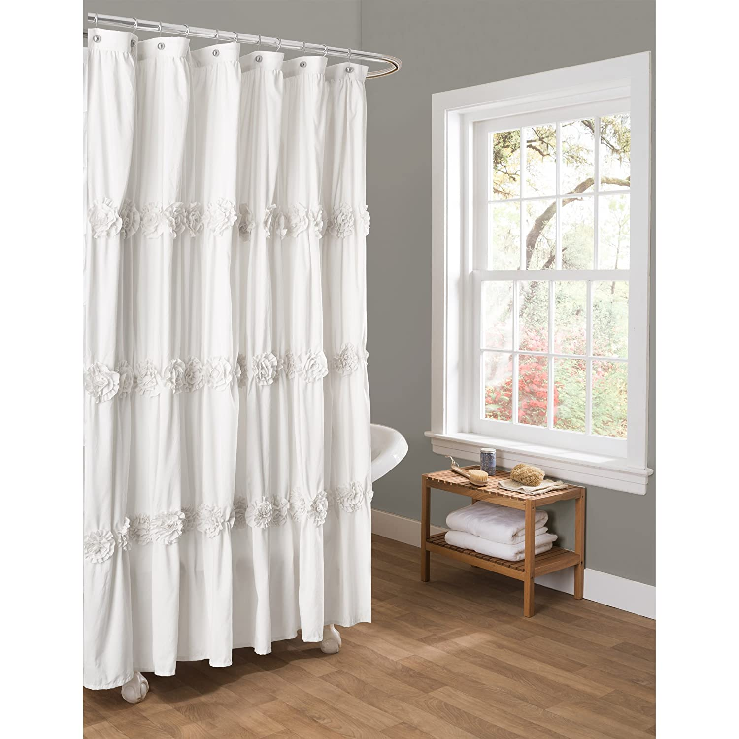 ritzy curtain along cheery medallion taupe with drop liner zq bathroom impressive sheers grey long flower fabric x as also extra ideas curtai inch decoration wells peaceably shower curtains