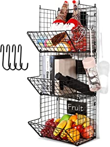 3 Tier Hanging Wire Basket - Wall Mounted Storage Bins for Pantry with Removable Chalkboards, Kitchen Fruit and Vegetable Storage Baskets, Metal Shelves Pantry Organization Containers Rack Produce Bin