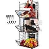 3 Tier Hanging Wire Basket - Wall Mounted Storage Bins for Pantry with Removable Chalkboards, Kitchen Fruit and…