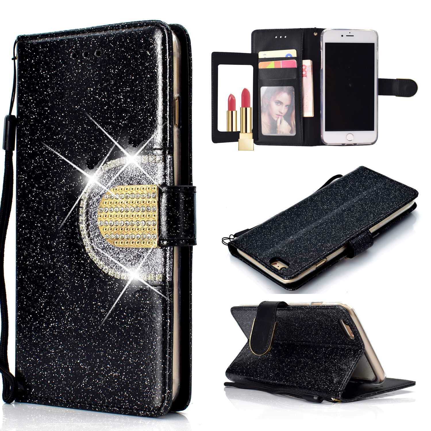 CUSKING Magnetic Wallet Case for Samsung Galaxy S6 with Card Slot and Detachable Hand Strap Book Style Case Full Body Protective Case Black