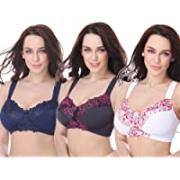 Curve Muse Plus Size Minimizer Unlined Wirefree Bra with Lace Embroidery-3Pack