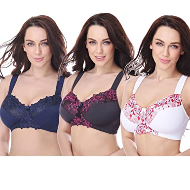 6ae01488cb Curve Muse Plus Size Minimizer Unlined Wirefree Bra with Lace Embroidery- 3Pack-WHITE