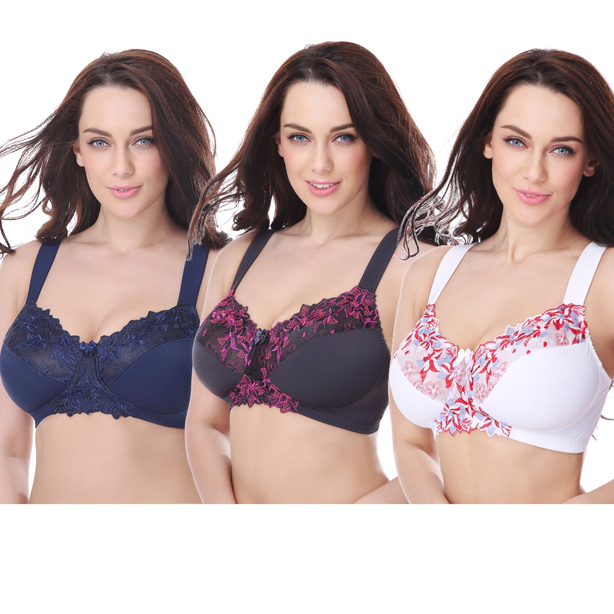 38b59aee31 Curve Muse Plus Size Minimizer Unlined Wirefree Bra with Lace  Embroidery-3Pack-WHITE
