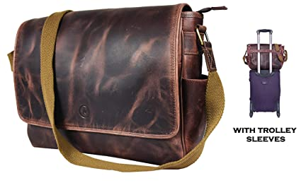 bf7c01f7e780 Image Unavailable. Image not available for. Color  16 quot  Crossbody Bag  Leather Laptop Messenger ...