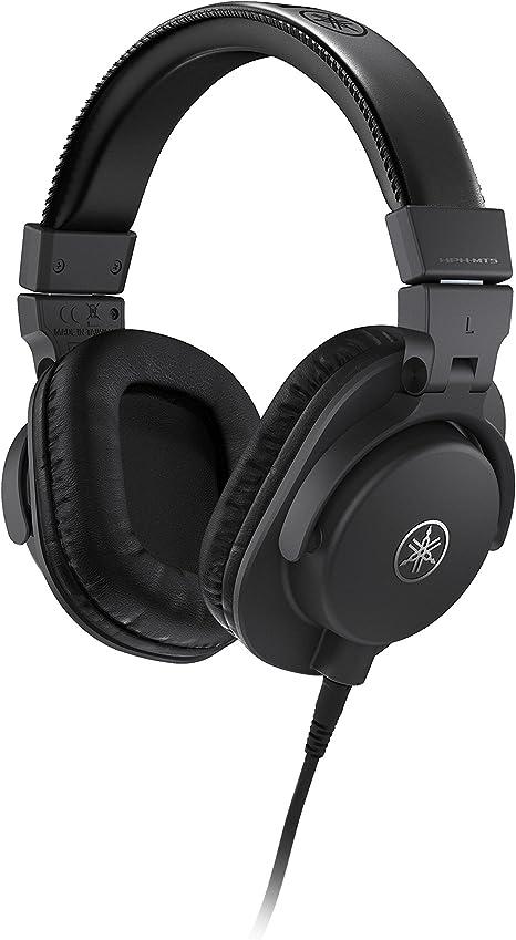 Yamaha HPH-MT5 Auriculares de estudio - Auriculares de monitorización plegables con cable de 3 my adaptador para jack estéreo estándar de 6,3 mm, ...