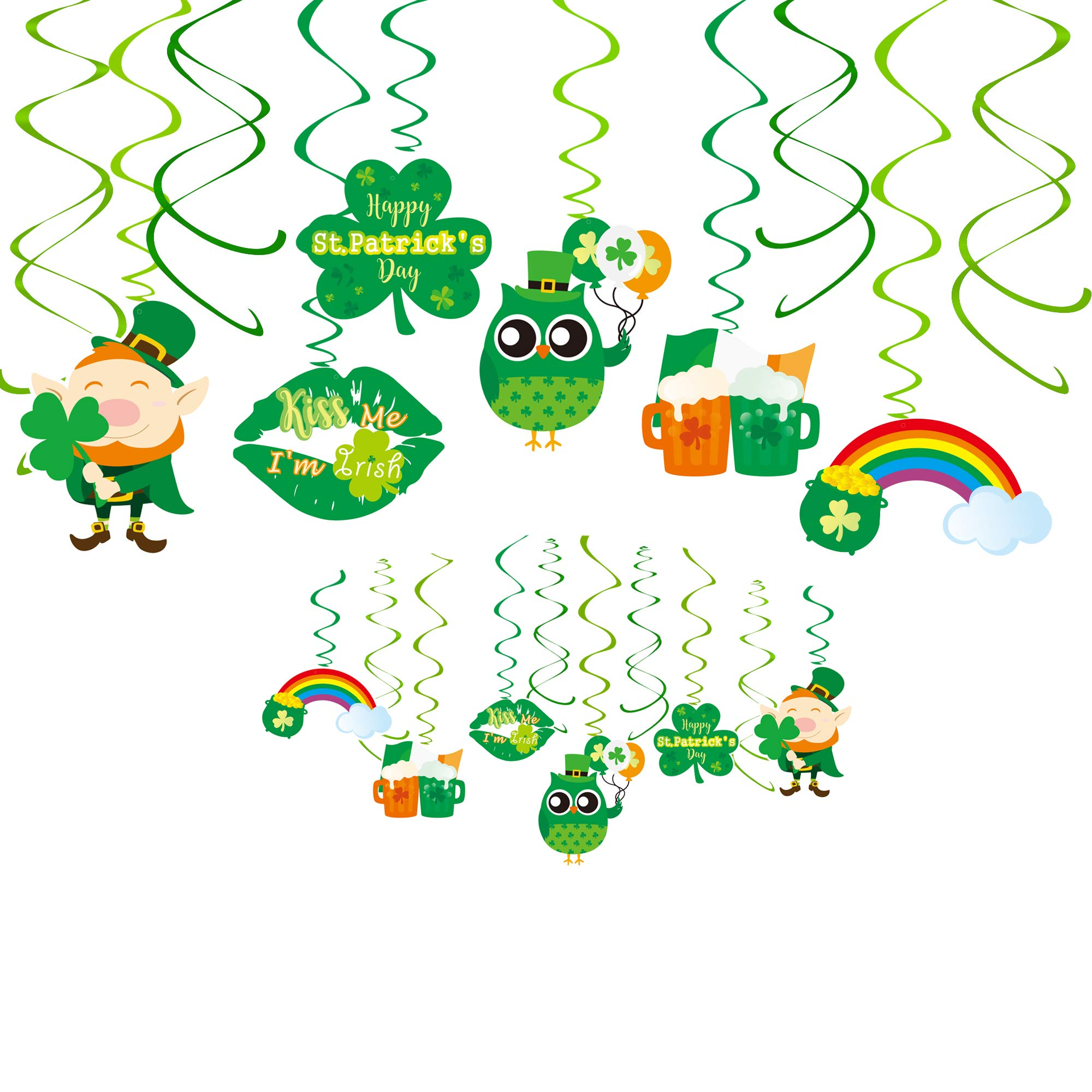 Yaaaaasss! St. Patrick's Day Hanging Swirl Decorations, Party Foil Hanging Swirls Ceiling Decors Swirl Streamers with Cutouts for St. Patrick's Day Party Supplies Photo Booth Backdrop, 30CT by Denis Valentinych
