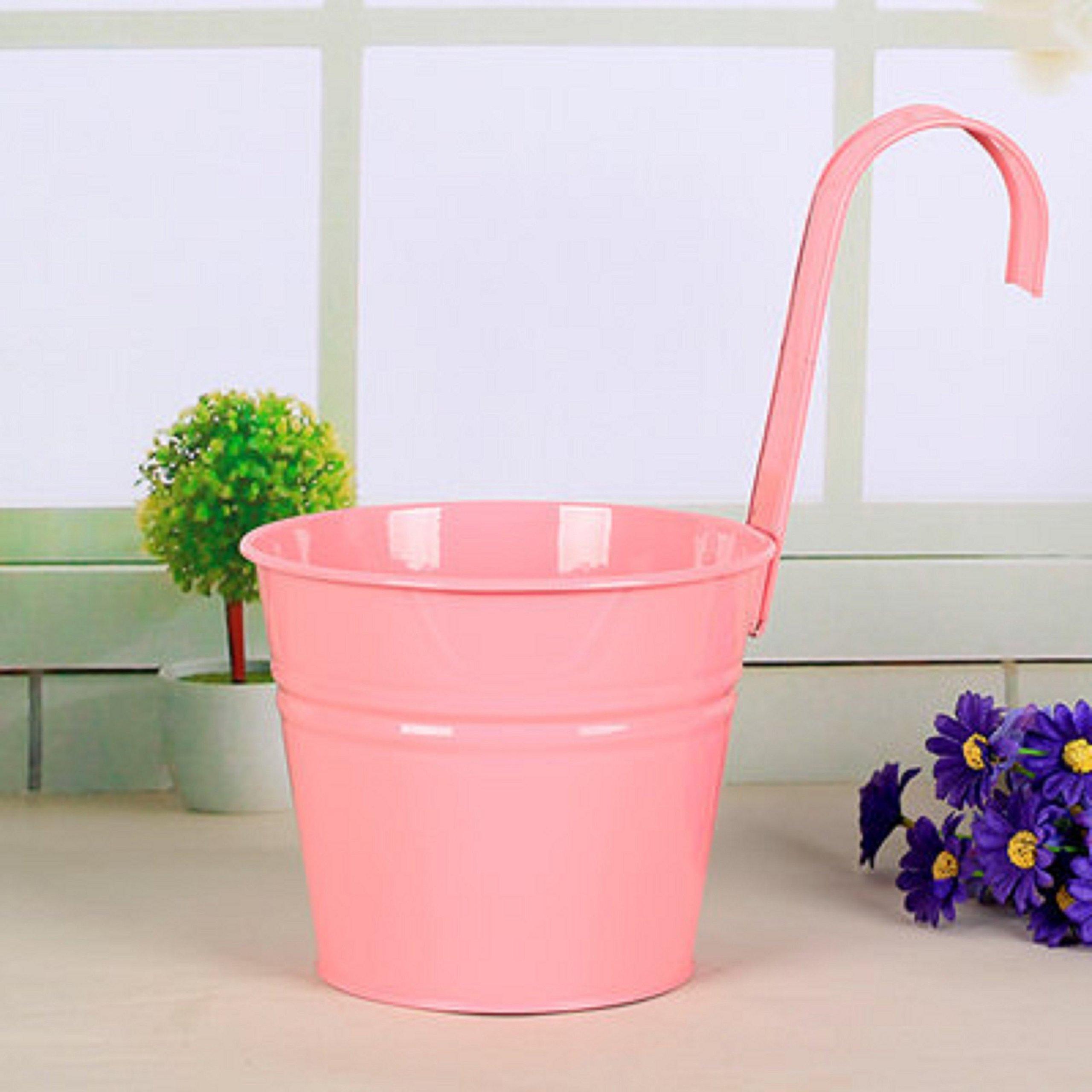 Mr. Garden 6 Inch Flower Pots Garden Pots Balcony Hanging Planter Iron Bucket Holders, 3pack, Pink
