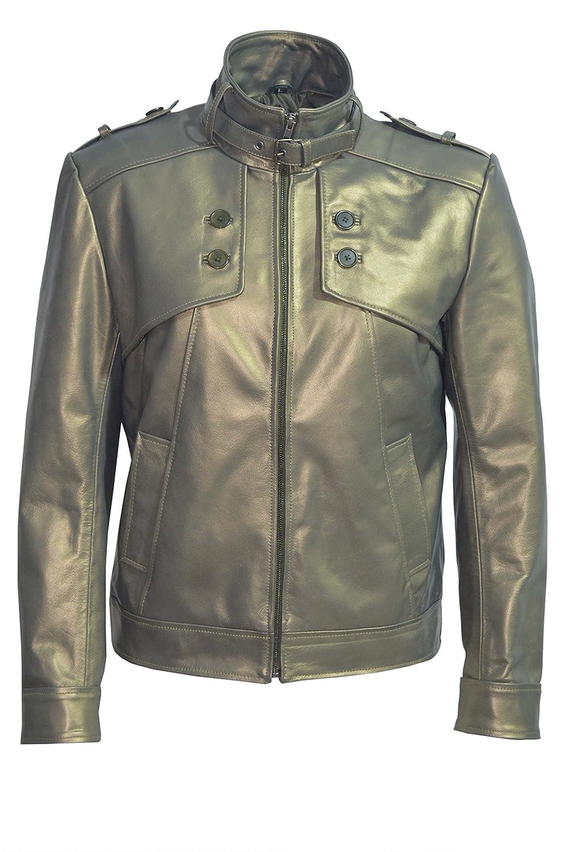 Men's New Gold 5223 Biker Rider Fashion Style Thick Buffalo Glaze Rock Leather Jacket