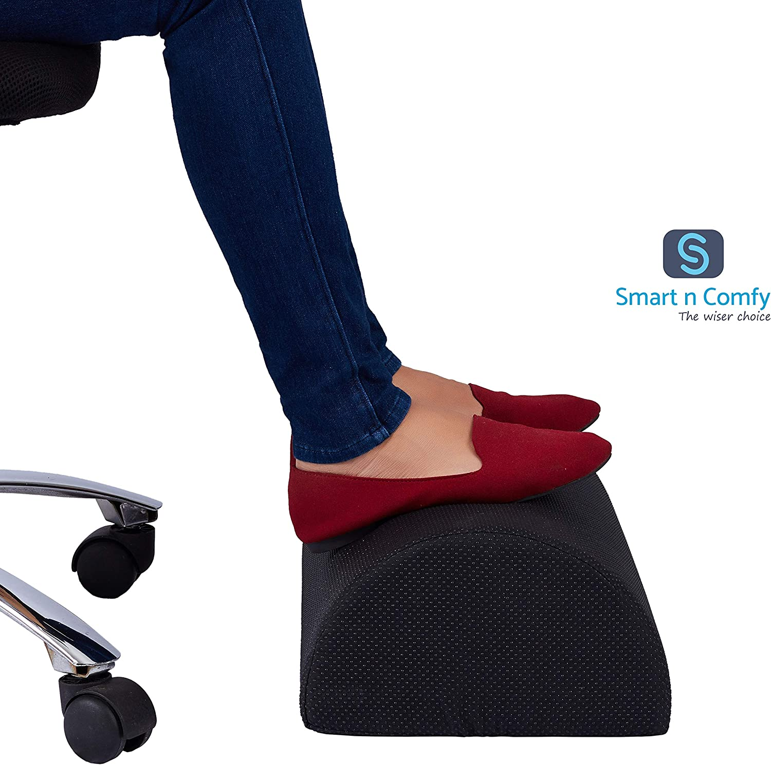 Foot Rest Cushion to Relieve Knee Pain, Tired, Aching & Sore Feet. Reduce Deep Vein Thrombosis. Ideal for Office and Home. Anti Slip Cover.