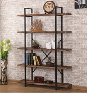 Ou0026K Furniture 5 Shelf Industrial Style Bookcase And Shelves, Free Standing Storage  Shelf Units