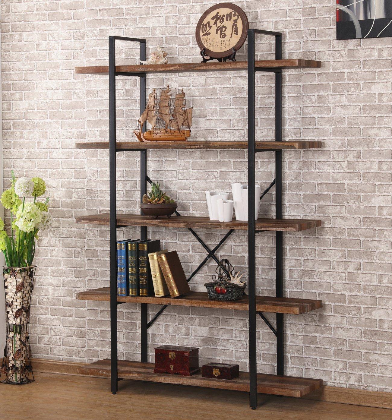 Amazon com ok furniture 5 shelf industrial style bookcase and shelves free standing storage shelf units kitchen dining