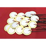 "15 Pieces - 20mm Piezo Disc Elements with 4"" Leads - Acoustic Pickup - Cigar Box Guitar CBG - Touch Sensor…"