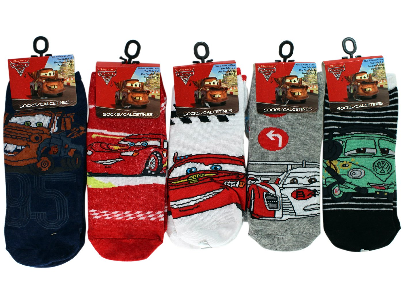 Amazon.com: 3 Pair Assorted Disney Cars Socks (Size 6-8) - Kids Socks: Sports & Outdoors