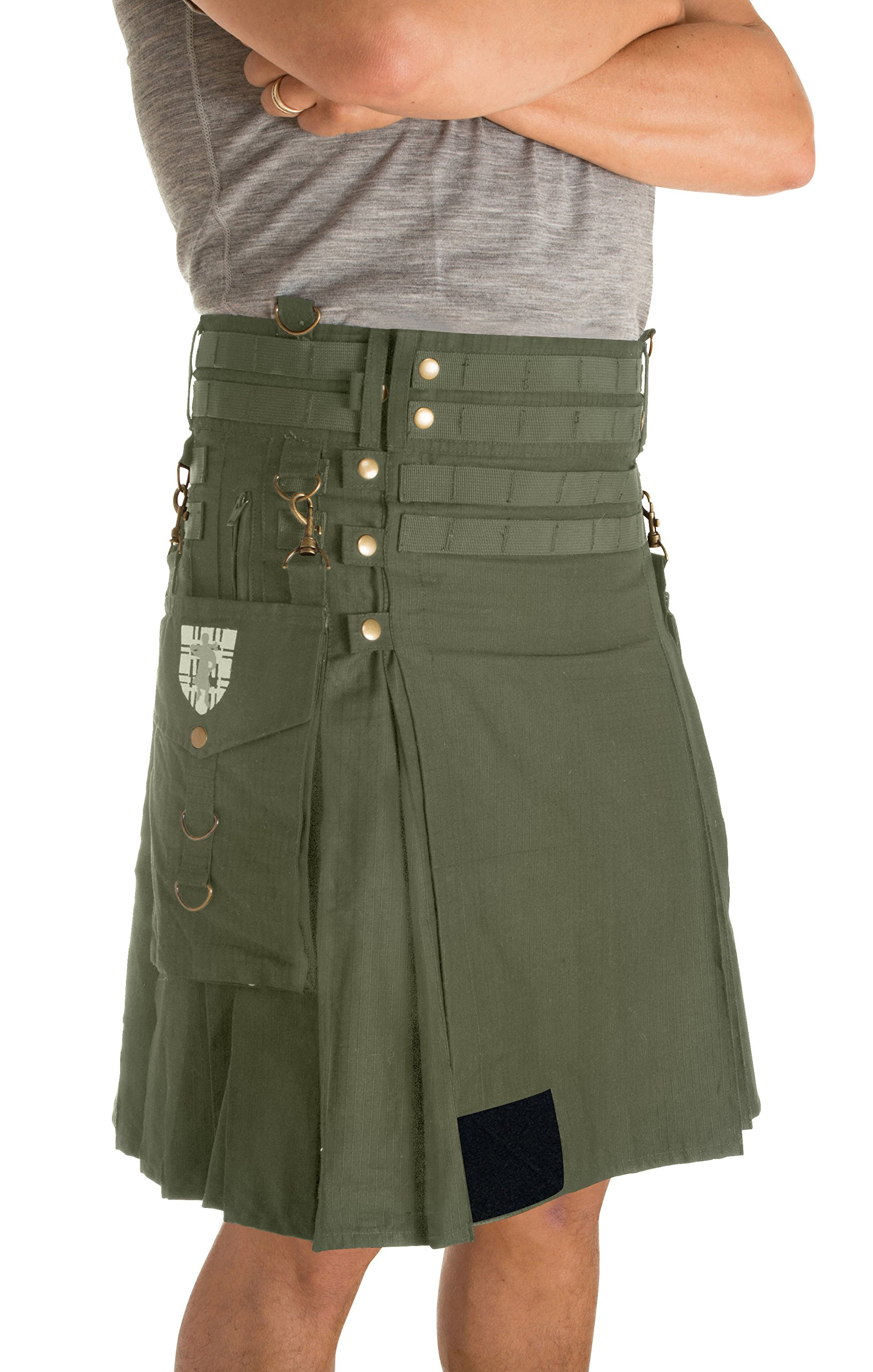 Damn Near Kilt 'Em Men's Tactical Kilt Large Military Green