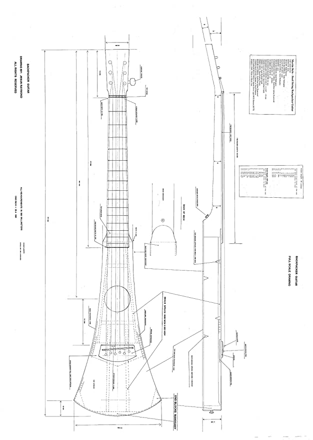 Amazon Com Full Scale Plans For Making The Martin Backpacker Guitar