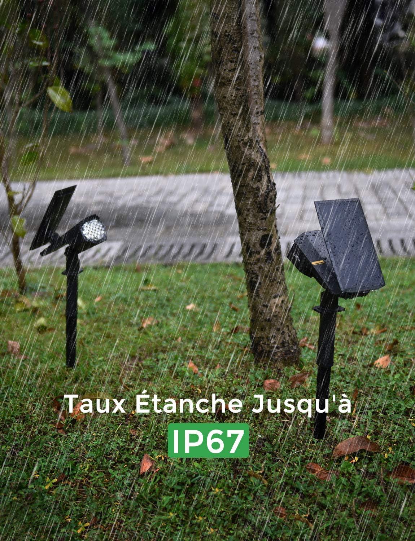 Ext/érieur LITOM 【2 Pack 30 LED】 Spot Solaire Ext/érieur Lampes Solaires Etanche IP67 Projecteur Solaire R/églable avec Panneau Solaire 180/° Eclairage Ext/érieur Solaire pour Jardin All/ée Chemin