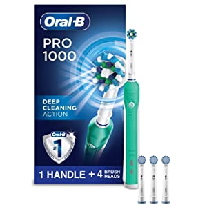 Oral-B 1000 CrossAction Electric Toothbrush, Green, Powered by Braun with 3 Replacement Brush Heads