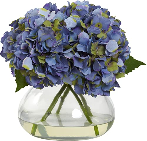 Nearly Natural 1357-BL Blooming Hydrangea with Vase, Large, Blue