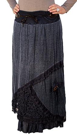 outlet store 8600f cee7e 7588 PERANO Damen Strick Maxirock mit Gürtel Wolle