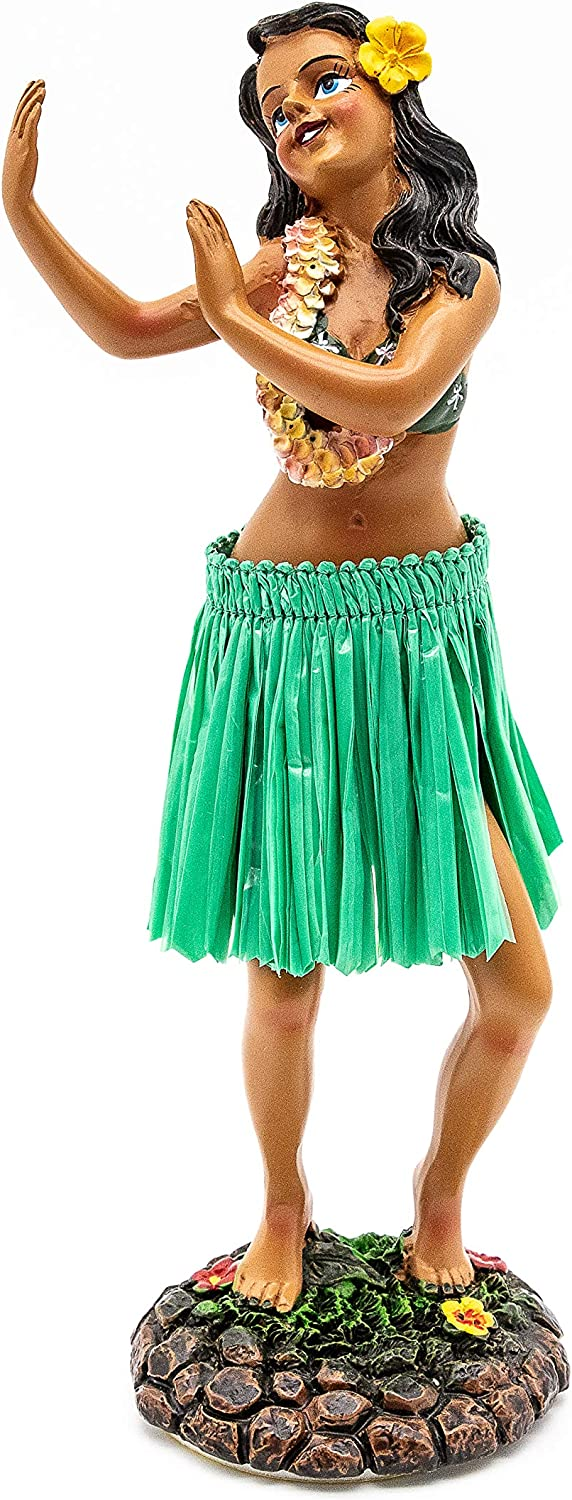 Hawaiian Dashboard Doll Leilani Girl Dancing Green