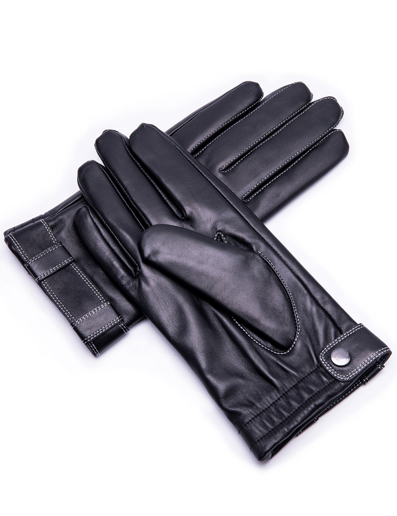 Men's Genuine Goatskin Leather Winter Warm Lined Gloves with Touchscreen Technology,Black,11''