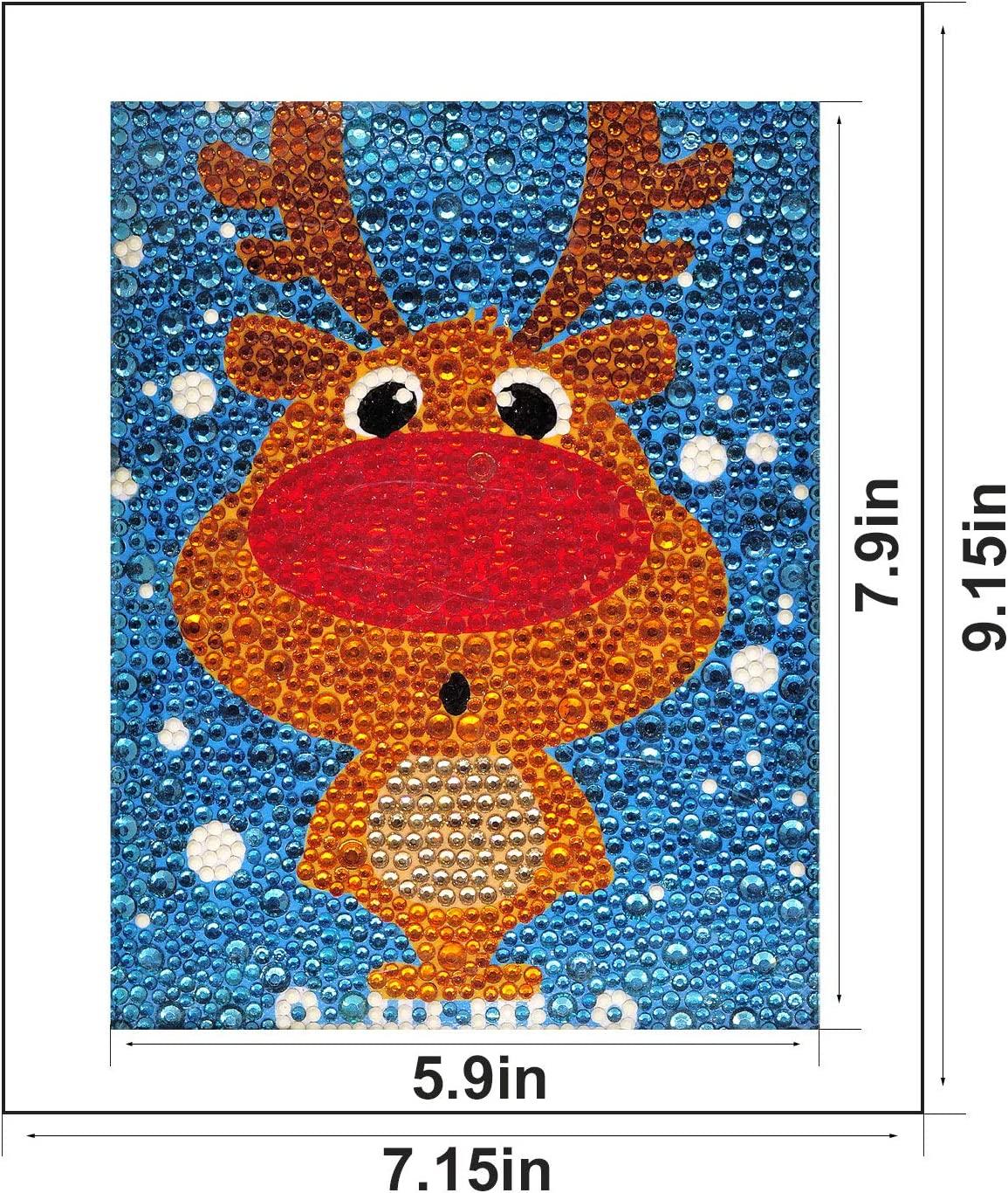 Caferria 5D Diamond Painting Kit for Kids Easy and Small DIY Full Drill Painting by Number Kits Best Gift for Children Rhinestone Embroidery Home Wall Decor with Wooden Frame Dolphin