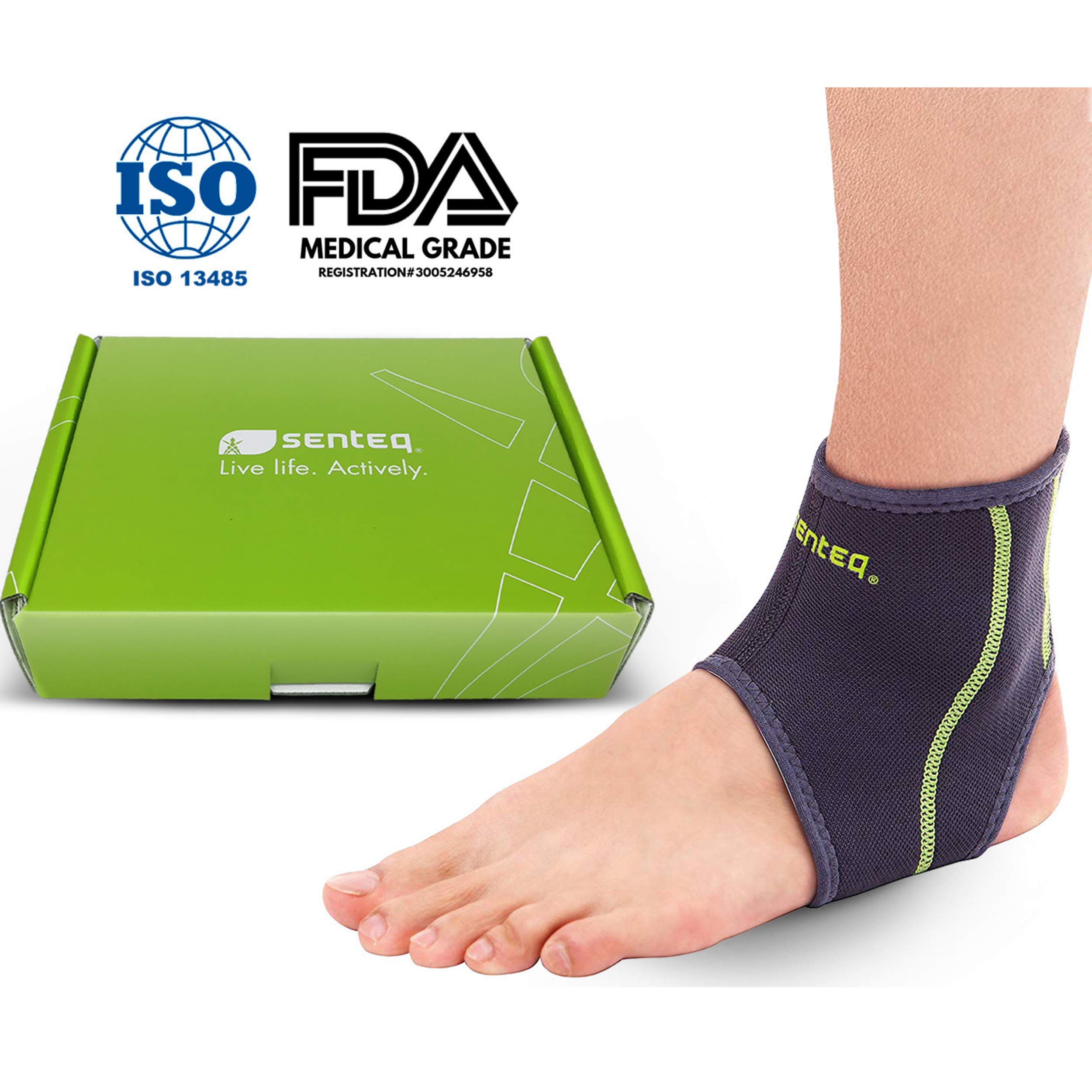 SENTEQ Ankle Brace - Provides Support, Compression and Pain Relief. Medical Grade and FDA Approved for Sprains, Strains, Arthritis and Torn Tendons in Foot and Ankle (Size XXL)