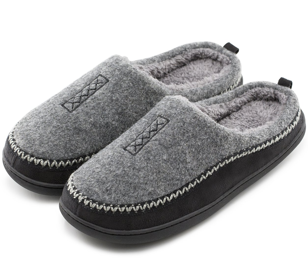 HomeTop Men's Indoor/Outdoor Wool Cross Decor Slip On Memory Foam Clog House Slippers (US Men's 11-12, Gray)