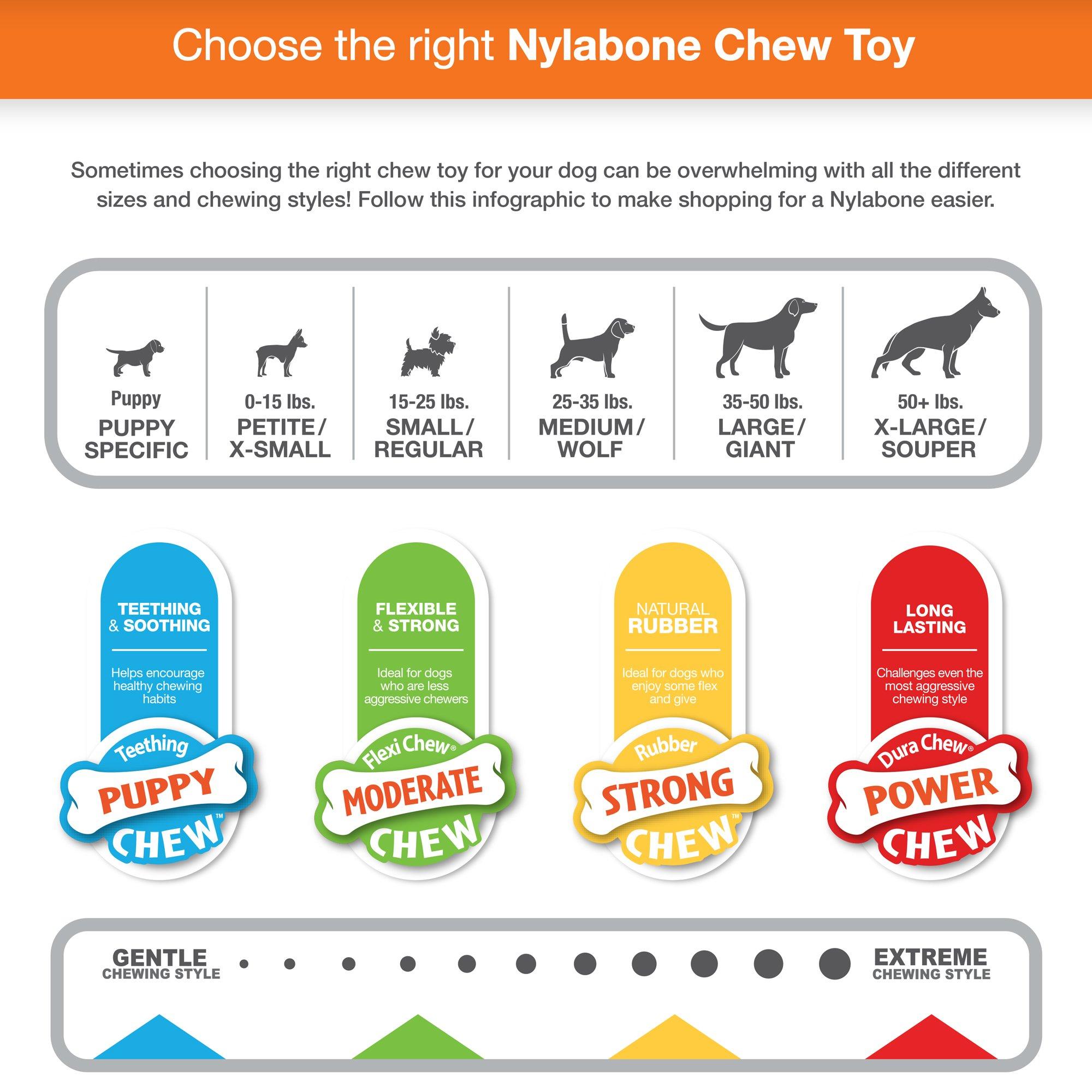 Nylabone NRP002VPP Puppy Chew Variety Toy & Treat Triple Pack Chicken & Lamb & Apple Regular 3 Count, Pink