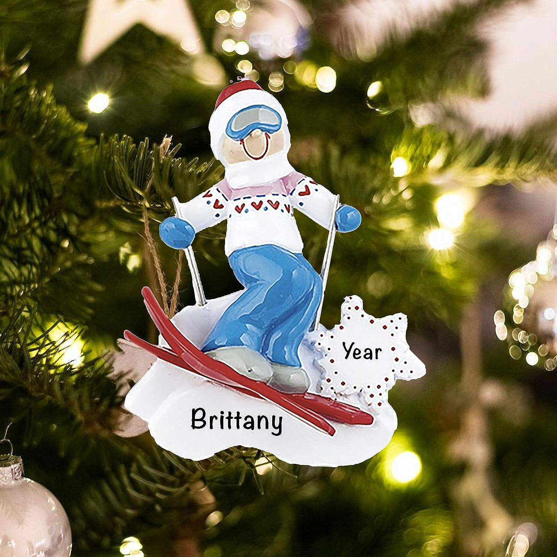 Girl on ski Christmas Ornament-Skiing on the snow Christmas Ornament Girls Christmas ornament-personalized christmas ornament kids