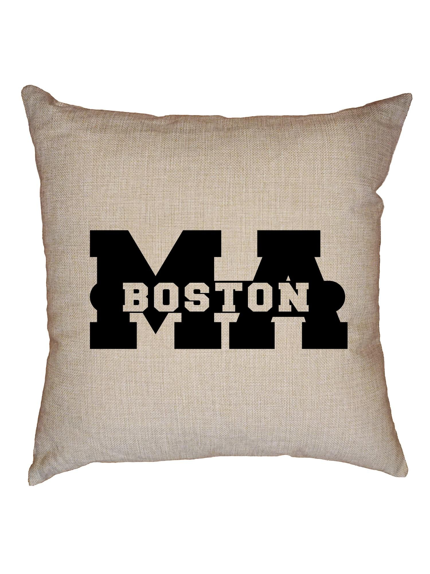 Hollywood Thread Boston, Massachusetts MA Classic City State Sign Decorative Linen Throw Cushion Pillow Case with Insert