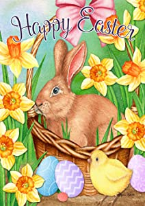 Toland Home Garden 1012300 Easter Basket Bunny 28 x 40 Inch Decorative, Spring Happy Eggs House Flag
