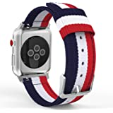 MoKo Band for Apple Watch Series 3 Bands, Fine Woven Nylon Adjustable Replacement Band Sport Strap for iWatch 42mm 2017 series 3 / 2 / 1, Blue & White & Red (Not fit 38mm Versions)