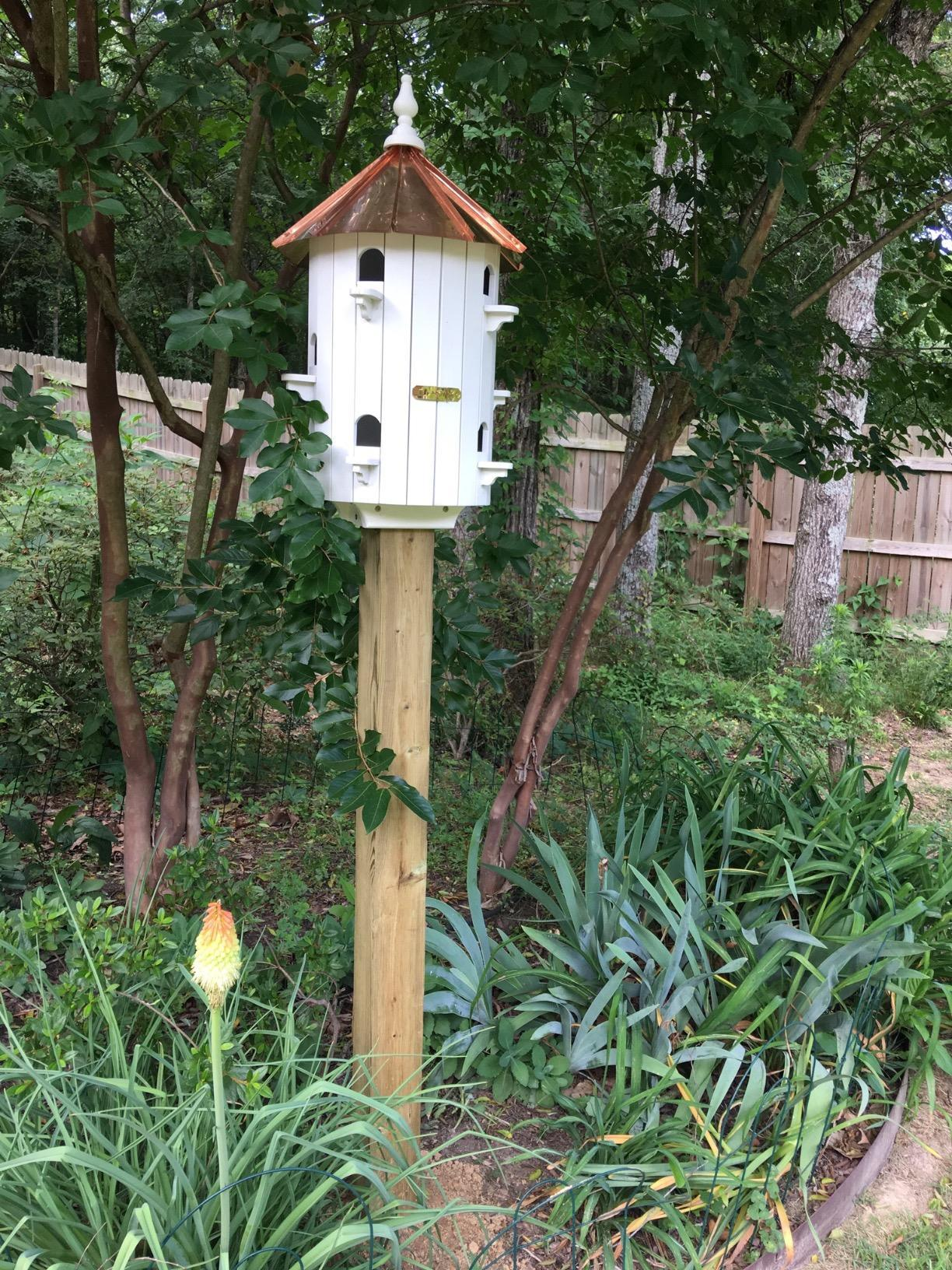 Amish Purple Martin birdhouse is very beautifully buid, This birdhouse have the capacity for 10 martin familes. This birdhouse is very cool looking and it can be mounted on 3.5 by 3.5 wooden post