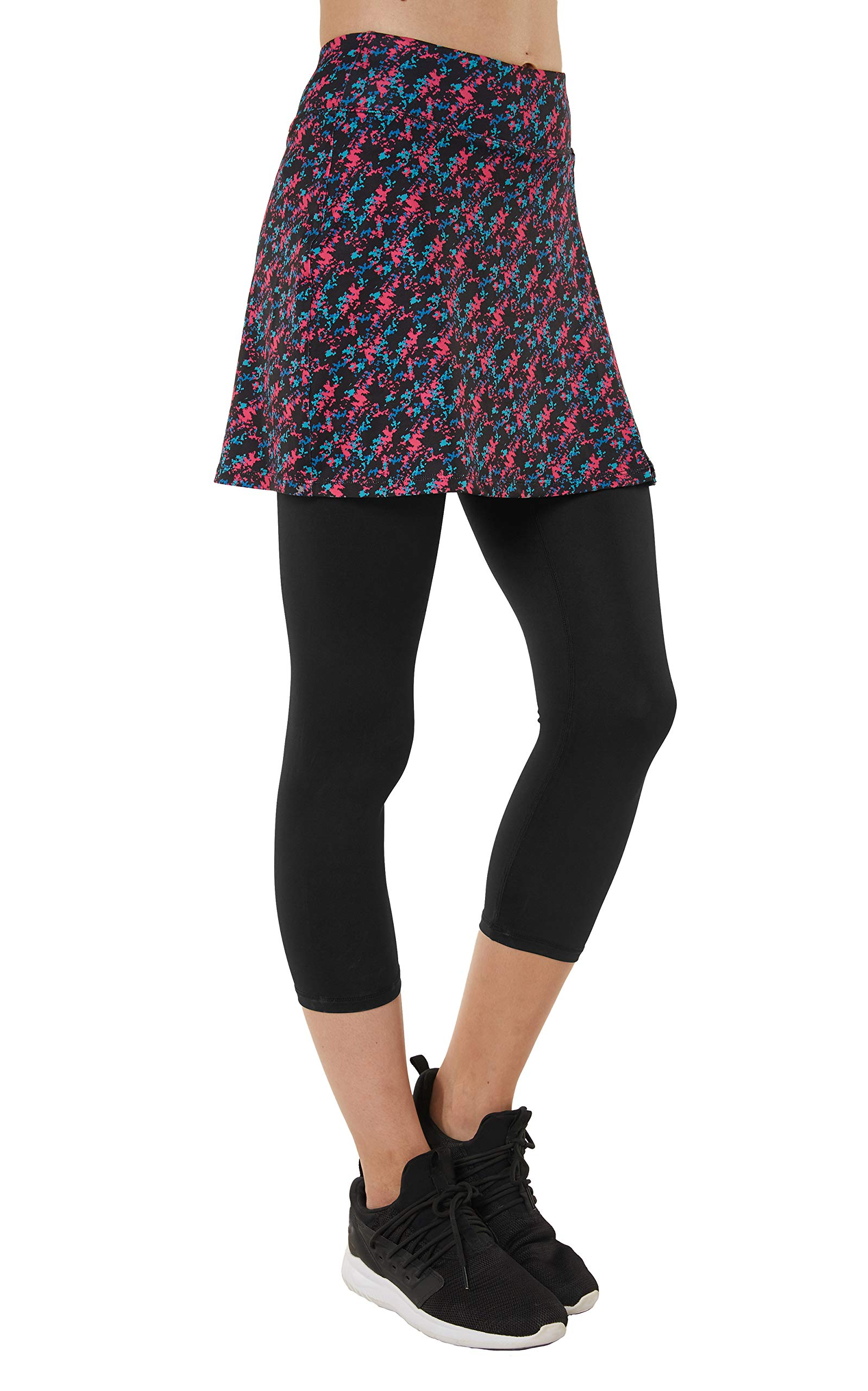 slimour Women Capri Leggings with Skirt Attached Capri Pants Skirted Leggings Workout Mixed M by slimour