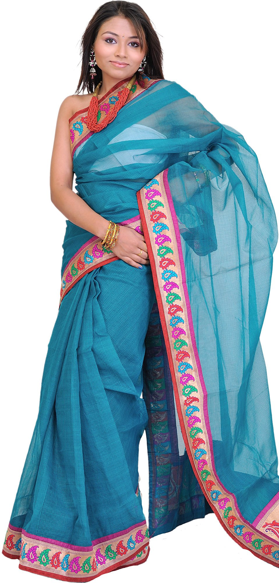 Exotic India Sari with Fine Woven Checks and Brocaded P - Color Resin Green