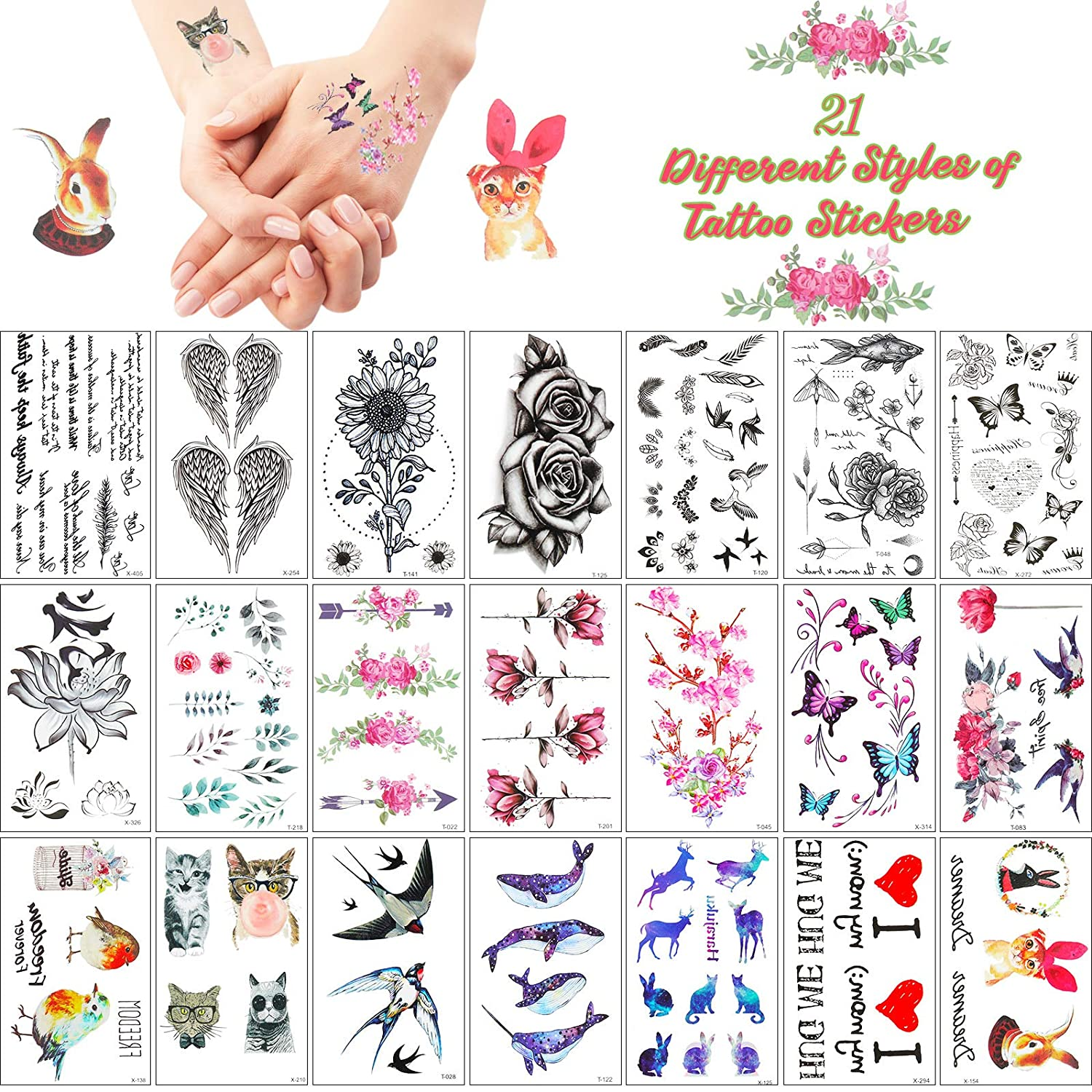 21 Sheets Realistic Tattoo Stickers Animal Tattoo Flower Tattoo Stickers Flower Temporary Tattoos Waterproof Stickers for Women Girls Adult for Arms Legs