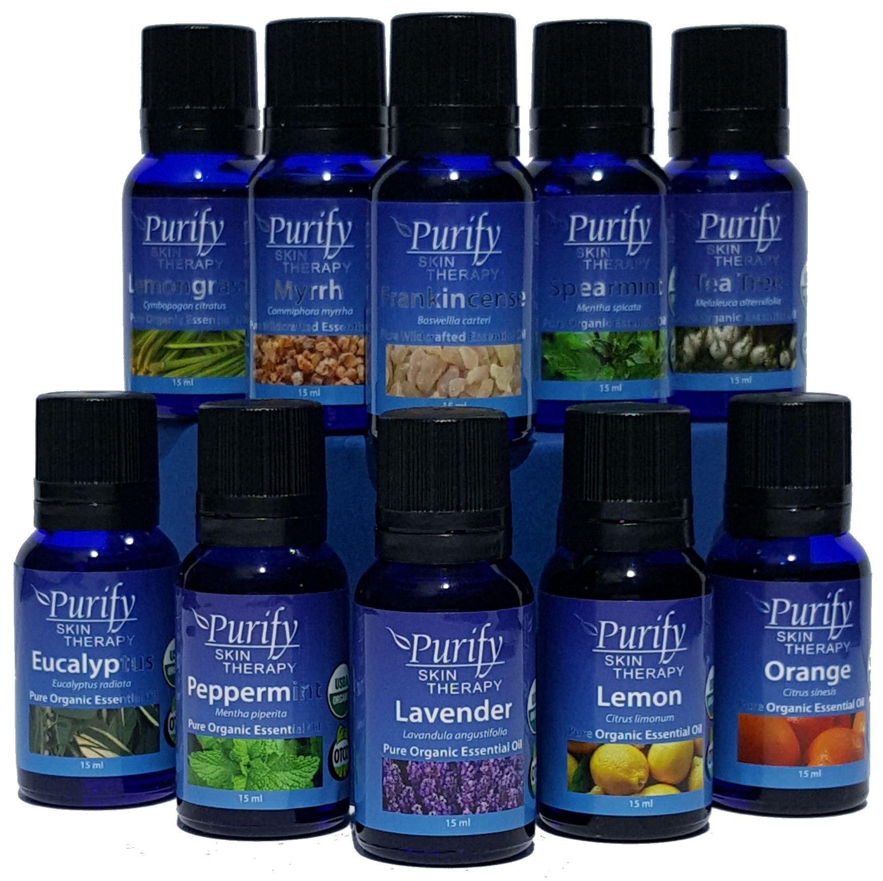 Essential Oils Set Top 10, Organic 15ml, 100% Pure