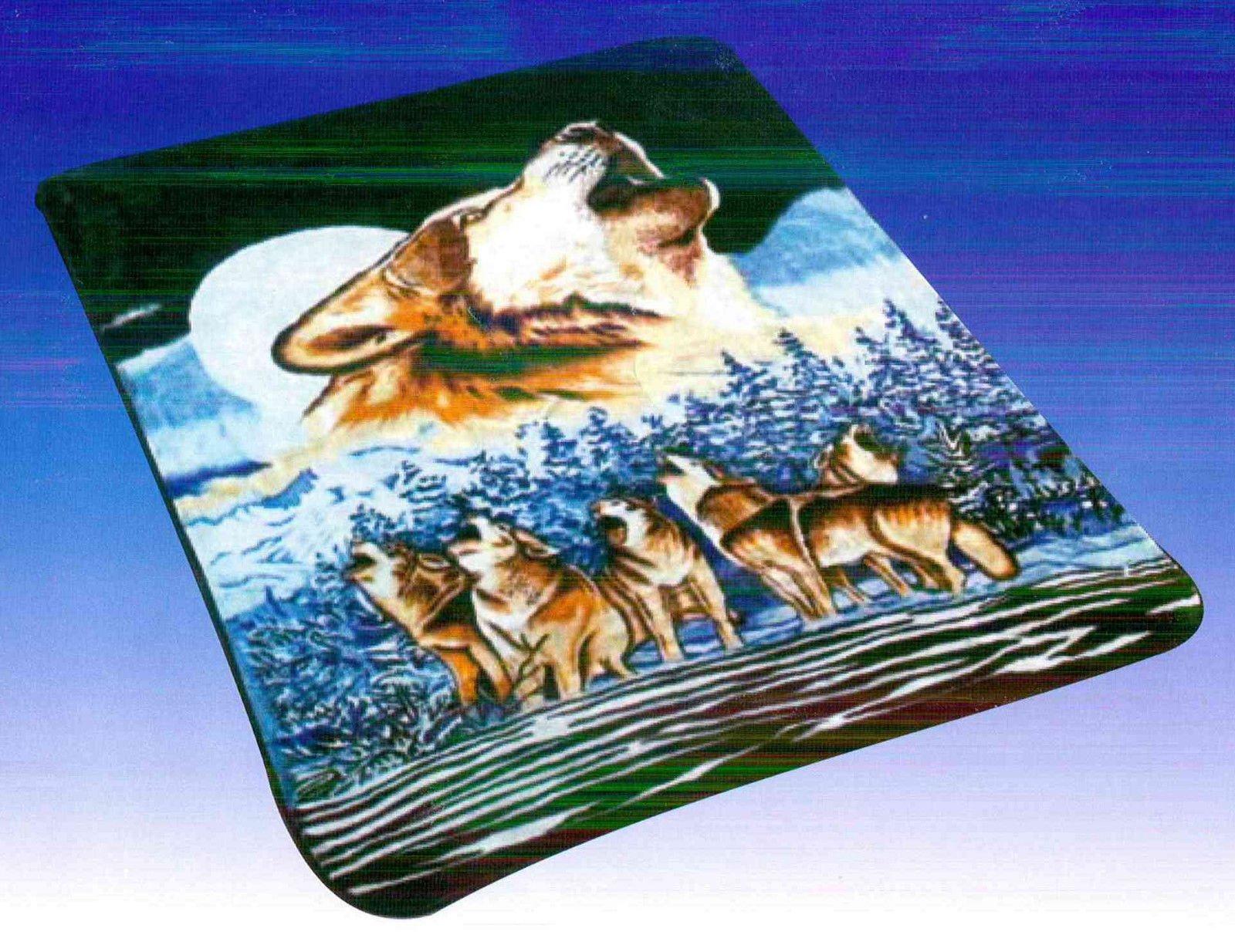 FAUX MINK FUR REVERSIBLE ANIMAL PRINT BLANKET, FULL OR QUEEN SIZE (Wolves)
