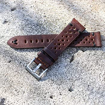 Thick Vintage Clean Cut  Full Grain Genuine Leather Watchband  Stainless Buckle  Colour As Shown  Size Options