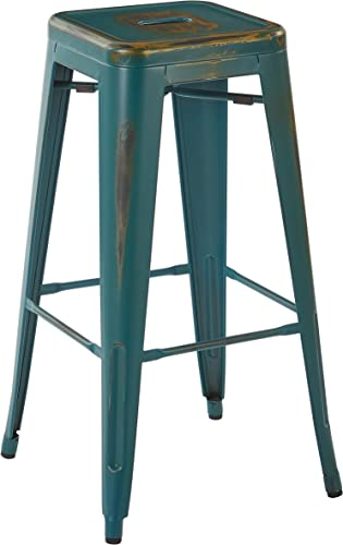 OSP Designs Bristow 30 Metal Barstools, Antique Turquoise, 4 Pack