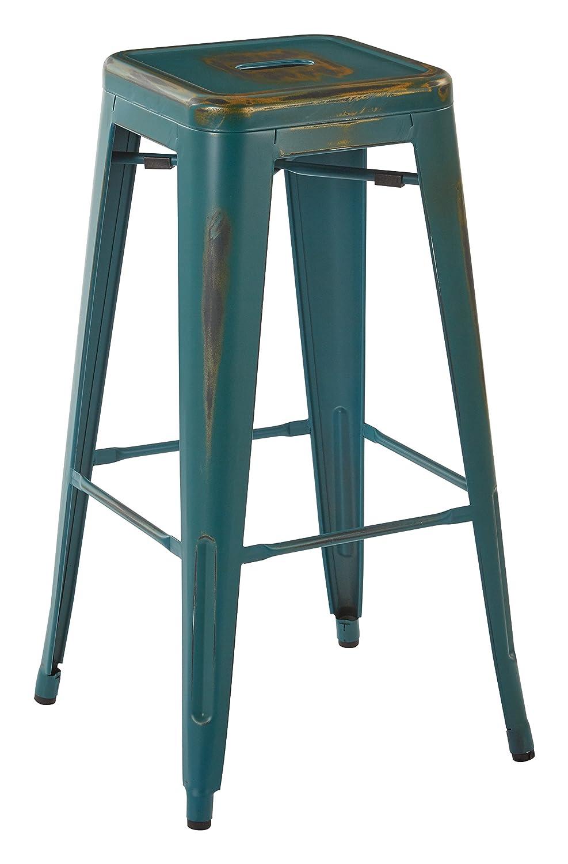 OSP Designs Bristow 30 Metal Barstools, Antique Turquoise, 4 Pack