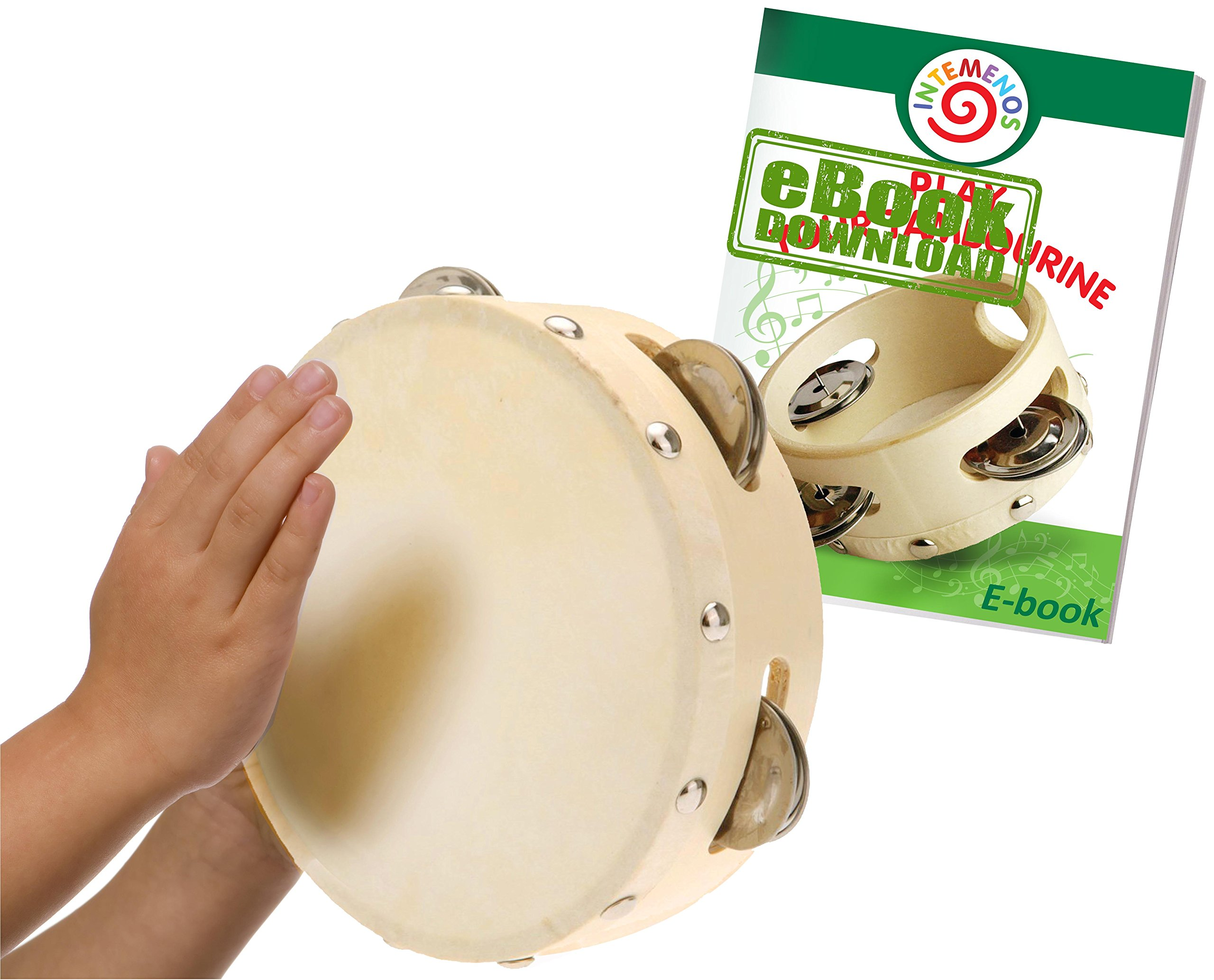 Tambourine for Kids - 6 inch Drum Tambourine with Metal Jingles - Tamburine Percussion Musical Instrument for Kids