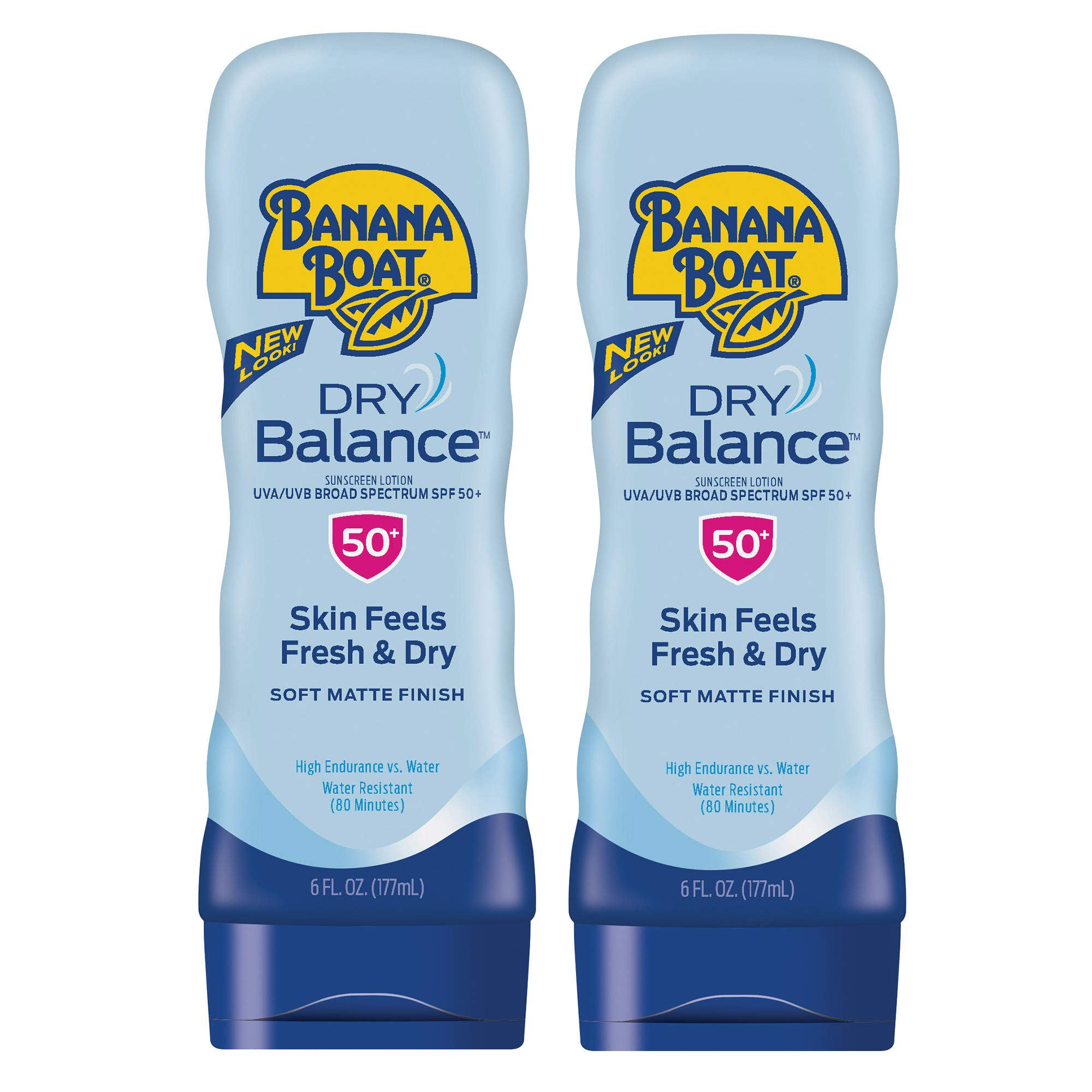 Banana Boat Dry Balance Broad Spectrum Sunscreen Lotion, SPF 50, 6 oz - Twin Pack by Banana Boat