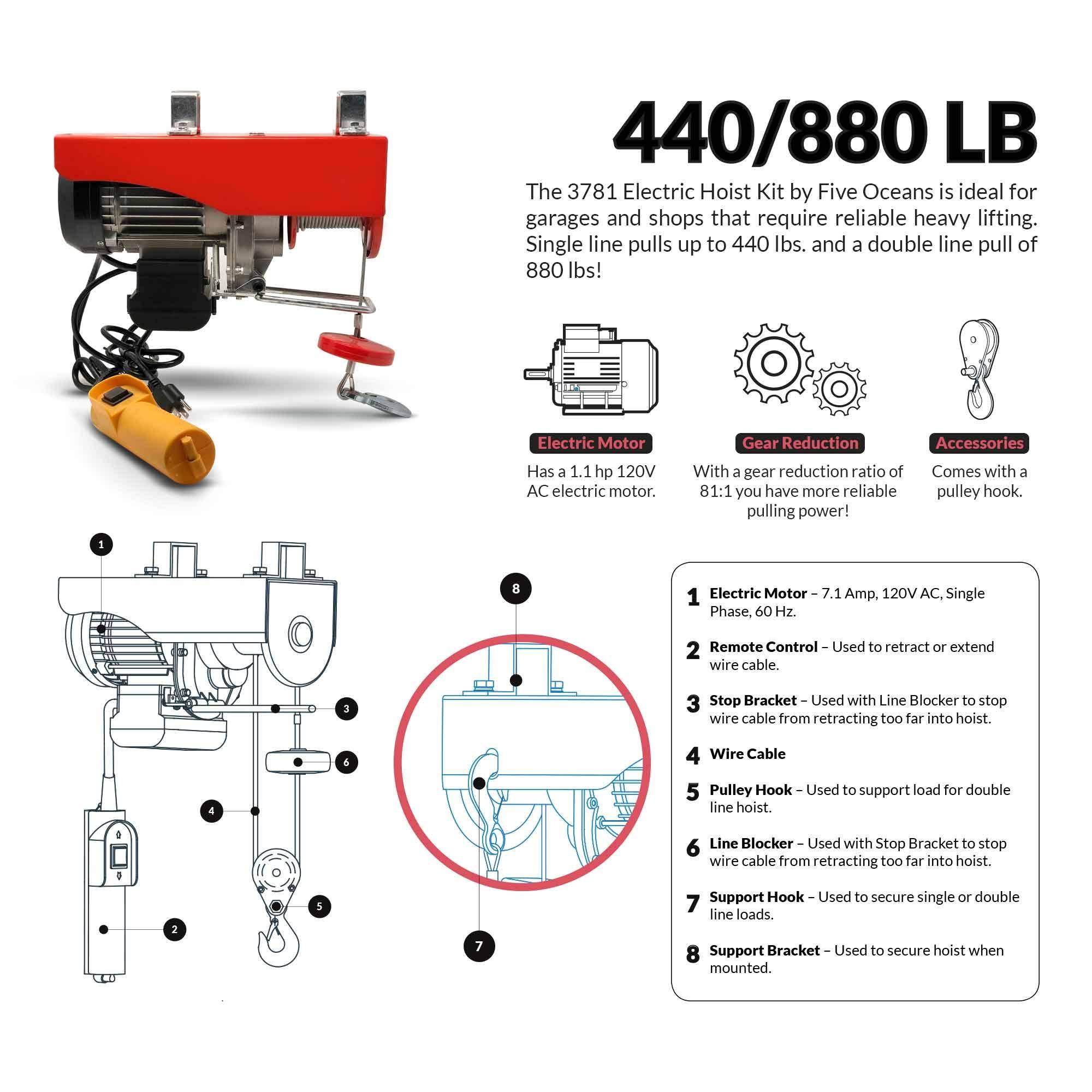 Five Oceans 880 LB  Overhead Electric Hoist Crane FO-3781 - 3781