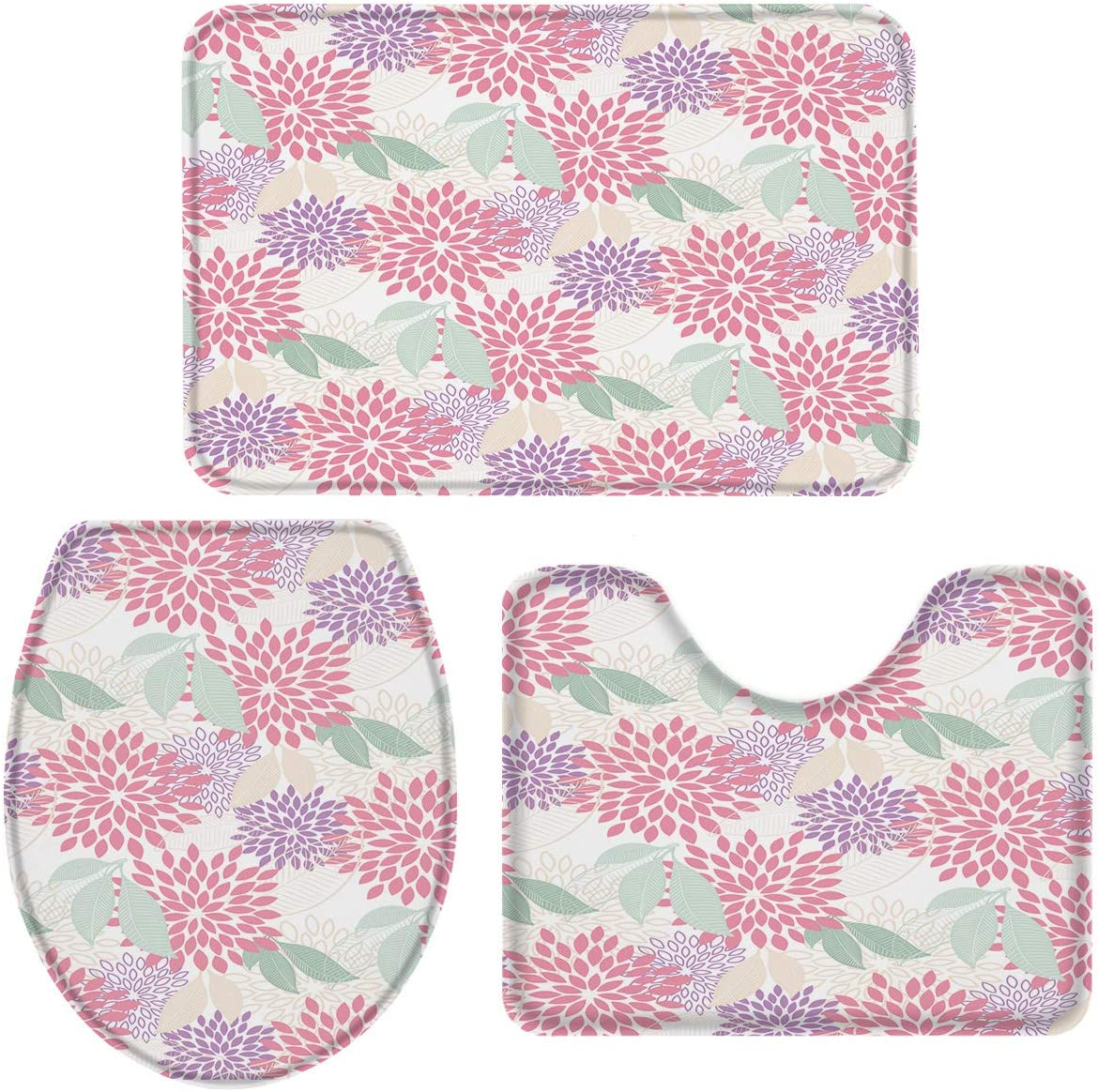 Hittoliy Rhombus Bath Mat Geometric Repeat Cell Doodle Flower Leaf Bathroom Mat Set 3 Pieces Rug Toilet Seat Lid Cover Non Slip Mat Anti-Skid Pad