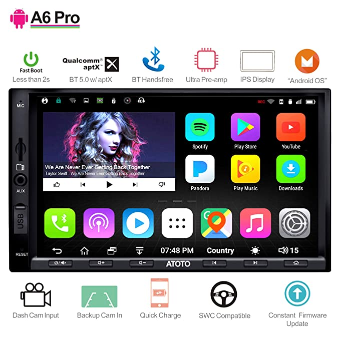 ATOTO A6 Pro A6Y2721PRB 2DIN Android Car Navigation Stereo - Dual Bluetooth  w/aptX - Fast Phone Charge/Ultra Preamplifier - in Dash Entertainment