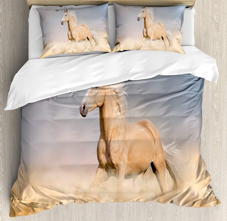 Conjuntos de ropa de cama con colchas de caballos, Caballo Palomino en el desierto de arena con pelo largo y rubio para animales salvajes, Juego de funda nórdica de 3 piezas para niños / niños / adole